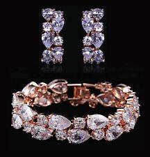 14k Rose Gold Bracelet Earrings Set made w/ Swarovski Crystal Bling Clear Stone