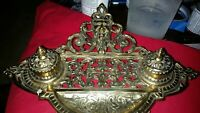 Antique vintage Revival double brass inkwell and letter/mail holder