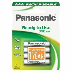 4 x Panasonic AAA 750 mAh Rechargeable Batteries Phone ACCU LR03 HR03 Ready