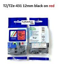 1 ea Compatible TZ/TZe 431 12mm BLACK/RED PT2030 PT2030AD PT2430PC PT2030VP tape
