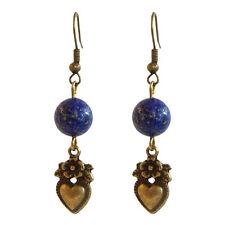 Boucles D'oreilles pendantes perle pierre bleu lapis lazuli et petit coeur doré