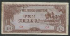 Oceania - Japanese Occupation - P-3a (1942) 10 Shillings - light toning - Vf-Xf