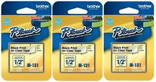 Brother Genuine P Touch M 131 Tape 12 P Touch Tape Black On Clear 3 Pack