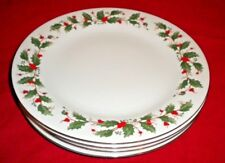 """Set of 4 China Pearl NOEL Christmas Holly Dinner Plates- Brown Backstamp 10 1/2"""""""