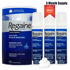 REGAINE FOR MEN MINOXIDIL FOAM 5% HAIR LOSS TREATMENT 3 MONTH SUPPLY 3 x 60ML