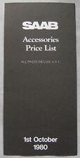 OTTOBRE 1980 SAAB Accessori Listino prezzi