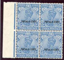 India - Patiala 1929 KGV 3a bright blue block superb MNH. SG 70. Sc 67.