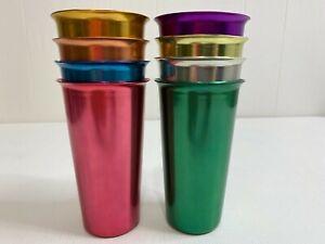 Vintage Hadson Japan Aluminum Tumblers Cups Drinking Glasses Multicolor Set of 8