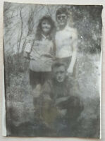 Shirtless Young man sunglasses hugs Young Woman Two Guys Vintage USSR Real Photo