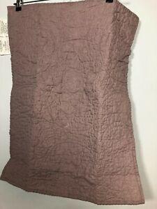 Pottery Barn Linen Shams Purple Top Stitching PAIR Bedding