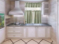 SET 3PC (K3) FAUX KITCHEN CURTAIN WINDOW DRESSING NOT SEE THROUGH ASSORTED COLOR