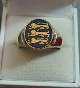 Gold over Sterling Blue Enamel 3 Passant Lion Leopard Crest sz 13 Ring Cd 35.12