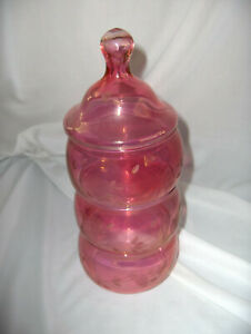 Vintage Princess House Iridescent Cranberry Pink Stackable Candy Dishes Heritage