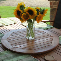 "Royal Tahiti Outdoor 28"" Round Lazy Susan with Umbrella Hole -Brown Stain"