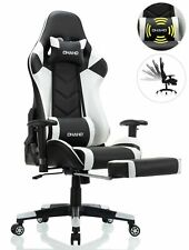 Ergonomic Computer Gaming Chair with Footrest Lumbar Massage Support ,WHITE
