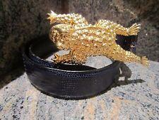 HUGE!!! Kieselstein-Cord Art Bronze Toad Buckle with Navy Lizard Belt