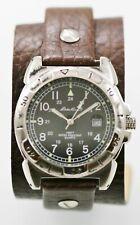 Eddie Bauer Watch Men Black Date 24hr Stainless Silver 50m Brown Leather Quartz