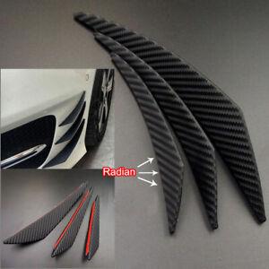 6x Carbon Fiber Car Diffuser Lip Splitter Front Bumper Canards Fins Accessories