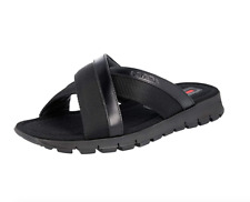 Prada Men's Black Brushed Leather And Fabric Sandals Size 8