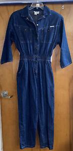 Vintage 1980's Dreams Women's Denim Blue Jean Jumpsuit XL Shoulder Pads Stretch