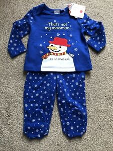 Tu Clothing Usborne That's Not My Snowman Baby Christmas Pyjamas 3-6 Months