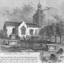 HAMMERSMITH. The Parish Church, in 1820. London c1880 old antique print