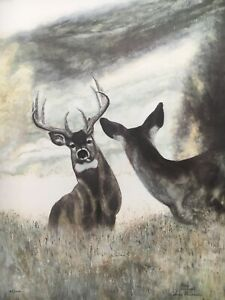 Trudy Evenson Who's There Buck in Rut With Doe Ltd Ed Print Montana Artist