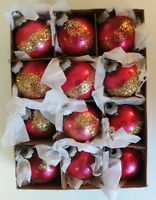 VINTAGE SHINY BRITE GLASS CHRISTMAS TREE ORNAMENTS IN BOX PINK w/ GOLD GLITTER