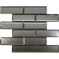 Gray Silver Beveled Subway Glass Mosaic Tile Kitchen Wall Spa Backsplash
