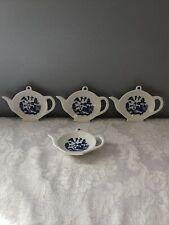 4 Vintage Blue Willow Teapot Tea Bag or Spoon Holders