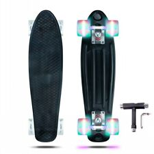 Black Skateboards Complete 22 inch Mini Cruiser Retro Skateboard with Led Wheels