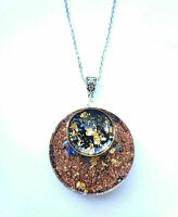 Orgone Orgonite necklace pendant Black Tourmaline, Lapis Lazuli, 24K Gold, unise