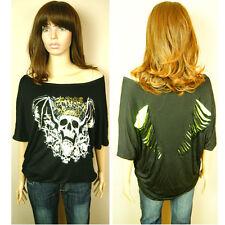 New 8-12 Womens Ladies King of Skull Bat Style Shoulder Black Loose Top T-Shirt