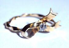 Cute! .12CT Mine Cut Diamond 14K Yellow Gold Twisted Ribbon Ring Size 7.5