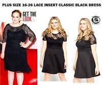 LADIES PLUS SIZE 16-26 FLOWER LACE INSERT BLACK SKATER DRESS EVENING PROM SMART
