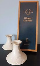 "Set of 2 Lenox China 3"" Greenfield Ivory Candle Holders & 12"" Dinner Candles"