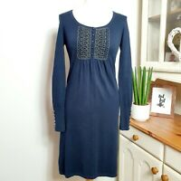 LAURA ASHLEY (UK Size 10) Cotton & Cashmere Blend Navy Blue Jumper Dress