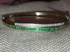 Vtg Natural Columbian Emerald Diamond bangle cuff slave bracelet solid 9ct gold