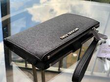 Michael Kors Double Zip Leather/PVC Phone Card Case Wallet Wristlet Black Gold