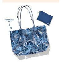 NWT Victoria's Secret PINK Blue Tropical Floral Palm Tote Bag & Pouch Beach 2020