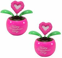 Lovers' Gift ~Set of 2 Pink Hearts Dancing Solar Toy for Valentine's Day Gift