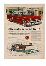 VINTAGE 1953 FORD CAR AUTOMOBILE FORDOMATIC DRIVE HUSBAND WIFE MARKET AD PRINT