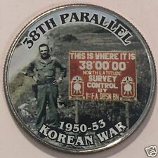 38TH PARALLEL 1950-53 KOREAN WAR COMMEMORATIVE COLORIZED HALF DOLLAR  BU #3641
