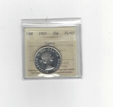 **1955**, ICCS Graded Canadian, 50 Cent, **PL-65 Cameo**