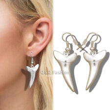Dangle Earrings Wicca Fancy Dress Costume 1Pair Silver Shark Fang Tooth Tusk