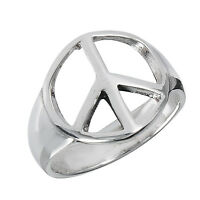 Sterling Silver Retro Peace Sign Anti War Ring Size 3-9
