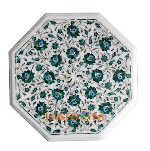 "18"" White Marble Center Coffee Table Top Real Malachite Inlaid Mosaic Decor W159"