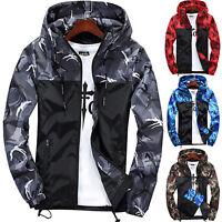 Men Camouflage Hooded Zipper Jacket Windbreaker Tops Outwear Waterproof Overcoat