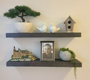 Birch & Bliss - SOLID Wood Hidden Mount Rustic Floating Shelves ** Set of 2**