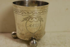 Small antique silver beaker, possibly Sweden, on 3 ball feet,later 1819 date